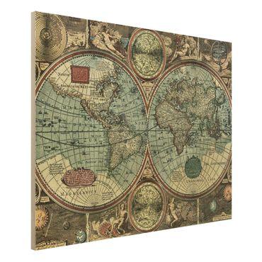 Holzbild Weltkarte - Die alte Welt - Quer 4:3