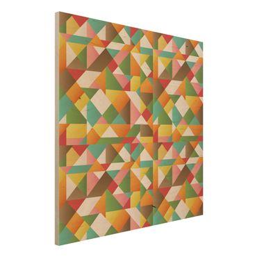 Wandbild Holz - Dreiecke Musterdesign - Quadrat 1:1