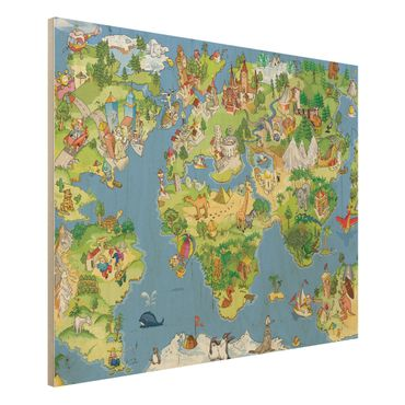 Holzbild Weltkarte - Great and funny Worldmap - Quer 4:3