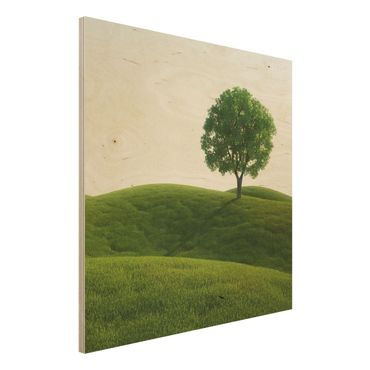 Holzbild - Grüne Ruhe - Quadrat 1:1
