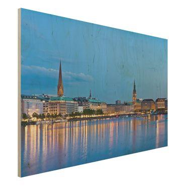 Holzbild - Hamburg Skyline - Quer 3:2