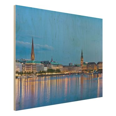 Holzbild - Hamburg Skyline - Quer 4:3