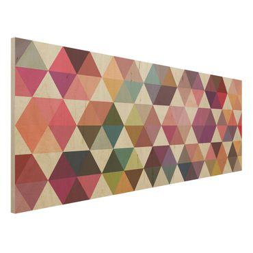 Wandbild Holz - Hexagon Facetten - Panorama Quer
