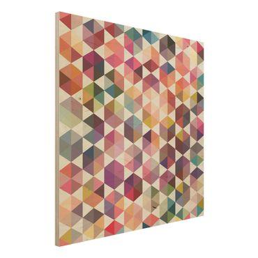Wandbild Holz - Hexagon Facetten - Quadrat 1:1