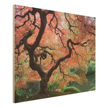 Wandbild Holz - Japanischer Garten - Quer 4:3
