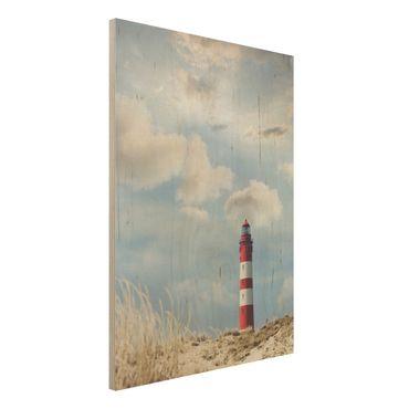 Wandbild Holz - Leuchtturm in den Dünen - Hoch 3:4