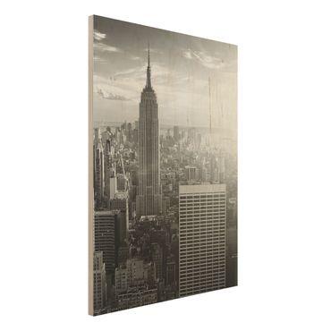 Bild aus Holz - Manhattan Skyline - Hoch 3:4