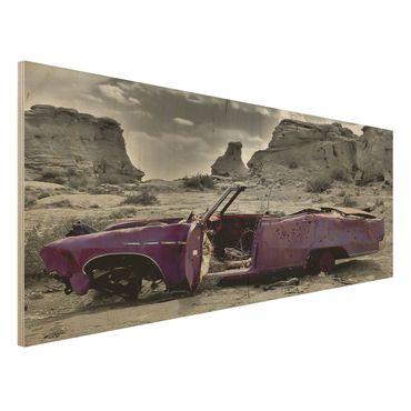 Wandbild Holz - Pink Cadillac - Panorama Quer