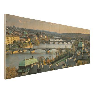 Wandbild aus Holz - Prag - Panorama Quer