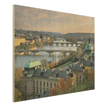 Wandbild aus Holz - Prag - Quer 4:3