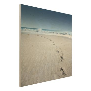 Holzbild Strand – Spuren im Sand - Quadrat 1:1