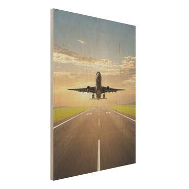 Holzbild - Startendes Flugzeug - Hoch 3:4