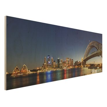 Holzbild - Sydney at Night - Panorama Quer