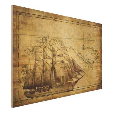 Holzbild Weltkarte - Time of Exploration - Quer 3:2