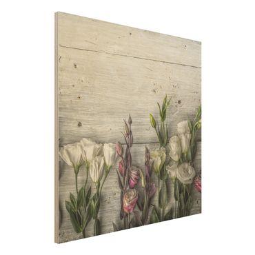 Holzbild - Tulpen-Rose Shabby Holzoptik - Quadrat 1:1