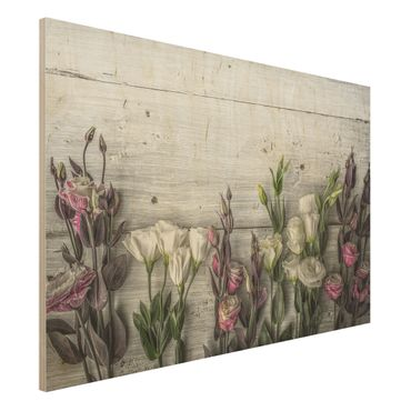 Holzbild - Tulpen-Rose Shabby Holzoptik - Quer 3:2