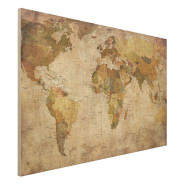 Holzbild Weltkarte - Quer 3:2