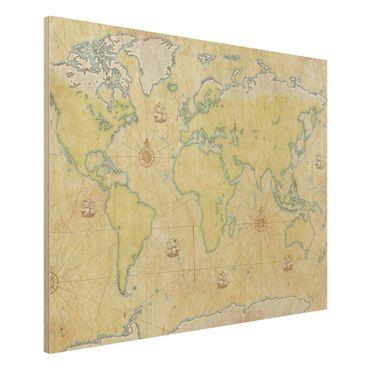 Holzbild Weltkarte - World Map - Quer 4:3