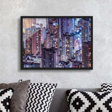 Bild mit Rahmen - Hongkong Lichtermeer - Querformat