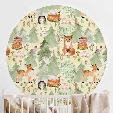 Runde Tapete selbstklebend - Igel und Fuchs mit Bäumen Grün