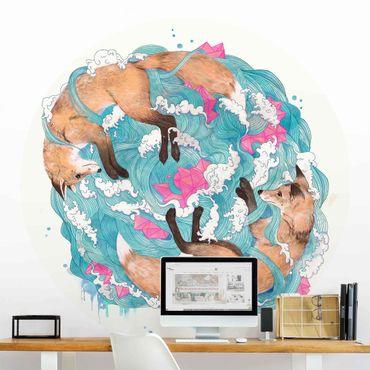 Runde Tapete selbstklebend - Illustration Füchse und Wellen Malerei