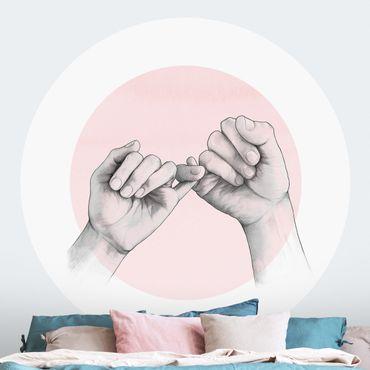 Runde Tapete selbstklebend - Illustration Hände Freundschaft Kreis Rosa Weiß
