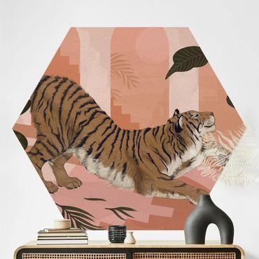 Hexagon Mustertapete selbstklebend - Illustration Tiger in Pastell Rosa Malerei