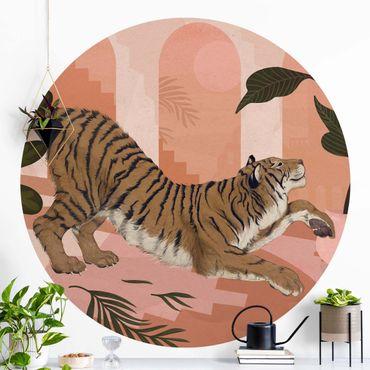 Runde Tapete selbstklebend - Illustration Tiger in Pastell Rosa Malerei