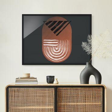 Bild mit Rahmen - Indigene Ton Geometrie auf Dunkelgrau - Querformat