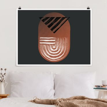 Poster - Indigene Ton Geometrie auf Dunkelgrau - Querformat 4:3