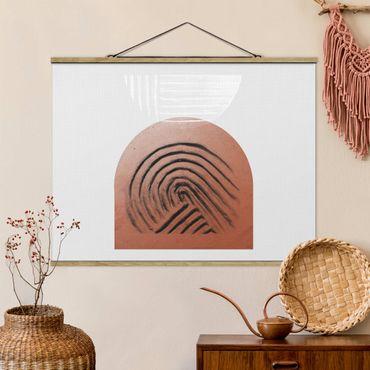 Stoffbild mit Posterleisten - Indigene Ton Geometrie - Querformat 4:3