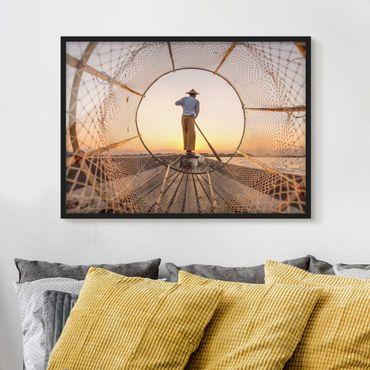 Bild mit Rahmen - Intha Fischer am Morgen - Querformat