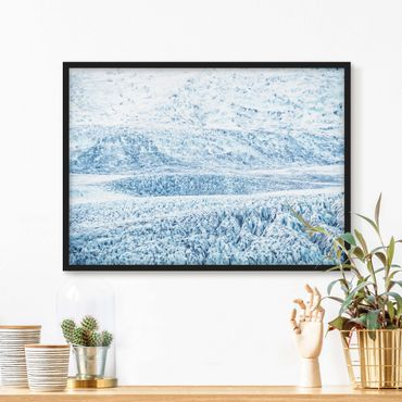 Bild mit Rahmen - Isländisches Gletschermuster - Querformat