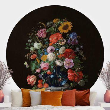 Runde Tapete selbstklebend - Jan Davidsz de Heem - Glasvase mit Blumen