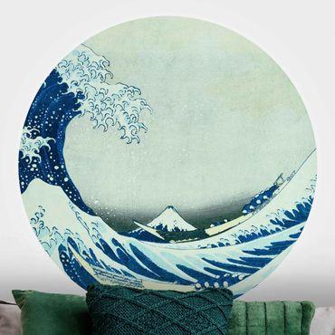 Runde Tapete selbstklebend - Katsushika Hokusai - Die grosse Welle von Kanagawa
