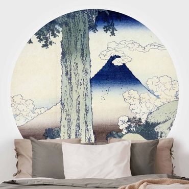 Runde Tapete selbstklebend - Katsushika Hokusai - Mishima Pass in der Provinz Kai