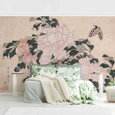 Fototapete - Katsushika Hokusai - Rosa Pfingstrosen mit Schmetterling