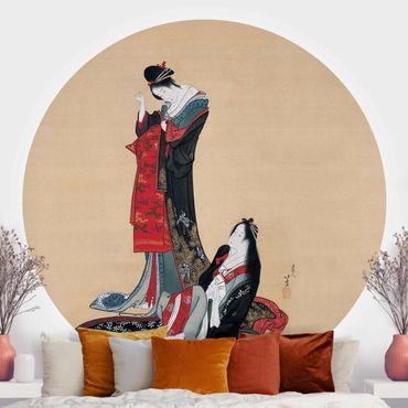 Runde Tapete selbstklebend - Katsushika Hokusai - Zwei Kurtisanen