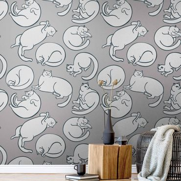 Metallic Tapete  - Katzen Muster in Grau