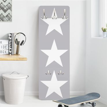 Kindergarderobe - Große weiße Sterne auf grau - Kinderzimmer
