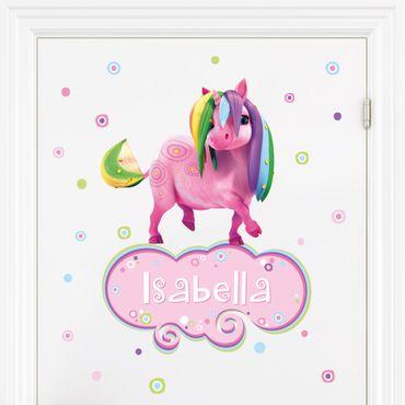 Kinderzimmer Wandtattoo mit Wunschtext - Mia and Me - Regenbogen Ponycorn mit Wunschname