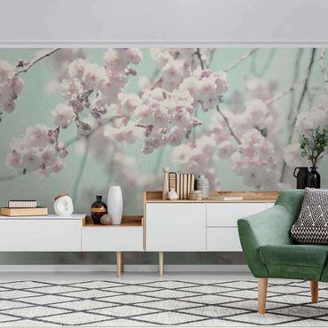 Metallic Tapete  - Kirschblütentanz auf Leinenstruktur