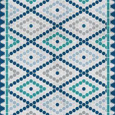 Klebefolie - Marokkanisches Fliesenmuster Türkis Blau