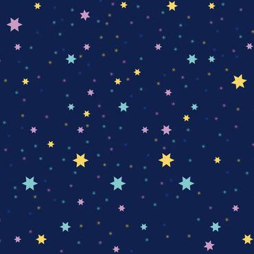 Klebefolie - Nachthimmel Kindermuster mit bunten Sternen - Selbstklebefolie