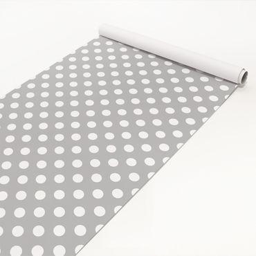 Klebefolie - Punkte in Weiß auf Grau - Bastelfolie selbstklebend