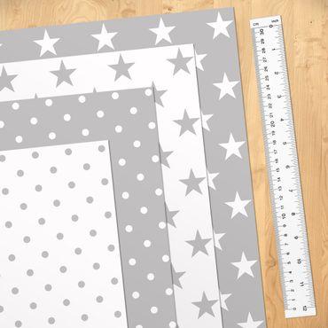 Klebefolie Set - Grau weiße Sterne und Punkte in 4 Variationen - Selbstklebefolie