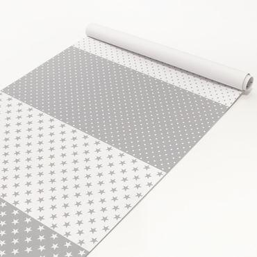 Klebefolie Set - Grau weiße Sterne und Punkte in 4 Variationen Dekofolie