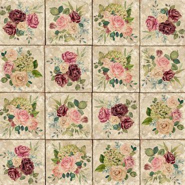 Klebefolie - Vintage Rosen und Hortensien