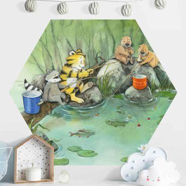 Hexagon Mustertapete selbstklebend - Kleiner Tiger - Beim Angeln