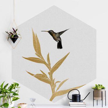 Hexagon Mustertapete selbstklebend - Kolibri und tropische goldene Blüte II